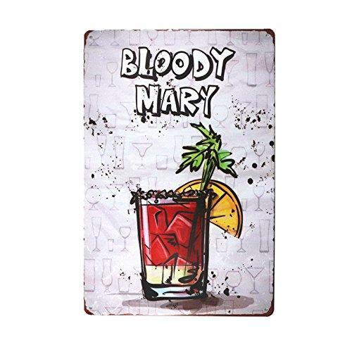 DL-Christmas Decoration Bloody MARY Metal Tin Sign Retro Cafe Restaurant Bar Pub wall - Bar Bloody Mary