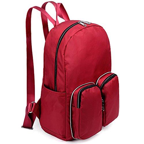 UTO Lightweight Nylon Shoulder Bag Large Capacity Crossbody Messenger Purse Convertible Storage Zipper Bag Khaki 300_red