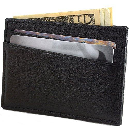 alpine swiss Men's Front Pocket Wallet Minimalist Super Thin 5 Card Genuine Leather, Black, One Size