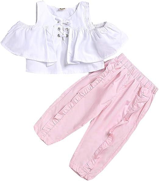 Hongyuangl Primavera Verano Ropa Conjuntos Niños Niña Camisa blanca Tops Ruffles + Bloomer Pantalones 2 Piezas Conjuntos: Amazon.es: Ropa y accesorios