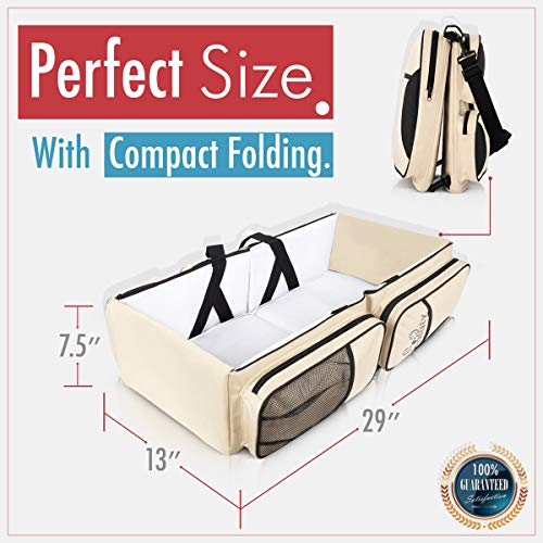 Koalaty 3-in-1 Universal Infant Travel Tote: Portable Bassinet Crib, Changing Station, and Diaper Bag for Newborns or Baby and Disposable Bag Dispenser