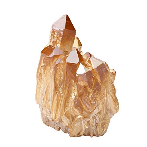 GEM Natural Rock Quartz Coated Crystal Quartz Cluster Geode Druzy Specimen Gemstone Decoration (Champagne)..