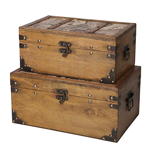 SLPR Journeys Wooden Trunk (Set of 2, Round-The-World)   Decorative Storage Vintage Themed Antique Victorian Style Treasure Storage Box for Keepsake Memories Toys (Victorian Antique)