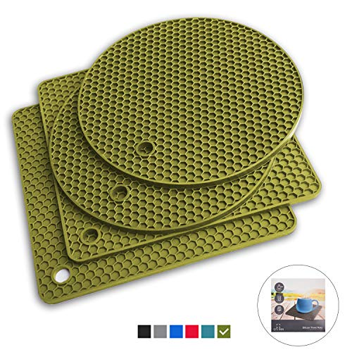 Q's INN Olive Silicone Trivet Mats | Hot Pot Holders | Drying Mat. Our 7 in 1 Multi-Purpose Kitchen Tool is Heat Resistant to 440°F, Non-slip, durable, flexible easy to wash and contains 4 pcs. ()