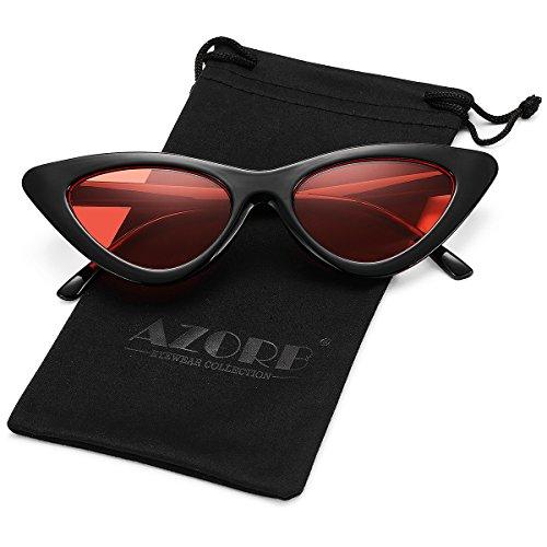 AZORB Retro Vintage Cateye Sunglasses for Women Plastic Frame Colored Lens - Slim Sunglasses Retro Cat Eye