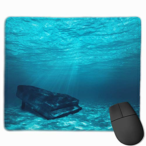 Computer Gaming Mouse Pad Piano Underwater Laptop Pad Non-Slip Rubber Stitched Edges 11.8 X 9.8 Inch
