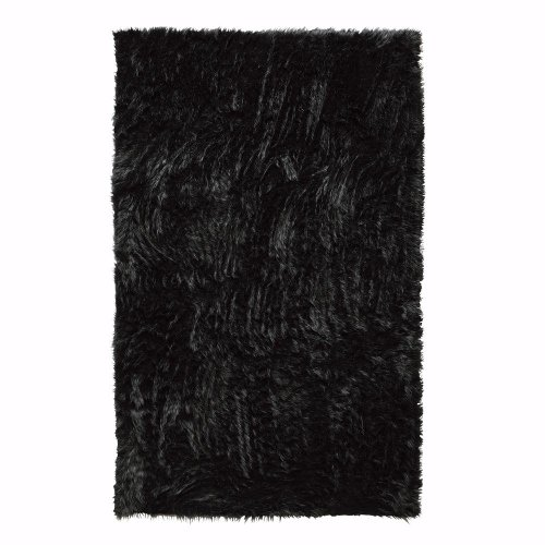 Faux Sheepskin Area Rug  8X11  Black