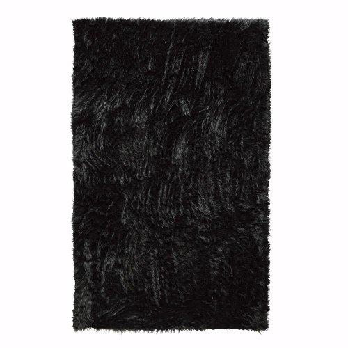 Faux Sheepskin Area Rug, 4'X6', Black
