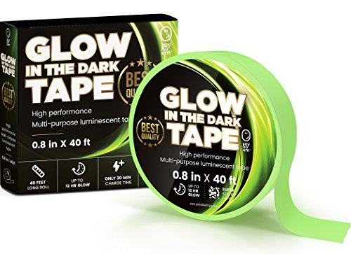 Photoluminescent Safety Tape - Top Quality Glow in the Dark Duck Tape | Extra long 40 ft | Brightest and Longest 12 Hour Green Glow Available | Waterproof Safety Stickers, Vinyl Decorations, Outdoor Games and Theater Stage Markers