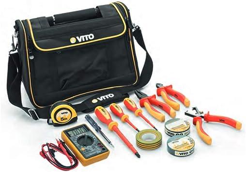 Recinto de herramientas caja electricista Vito 12 piezas mango acero reforzada nailon alta calidad bolso bandolera: Amazon.es: Bricolaje y herramientas