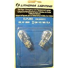 Lithonia Lighting ELPL083 Exit Sign Emergency Unit Replacement Lamps 9 watt 6 volt dc #908 wedge base