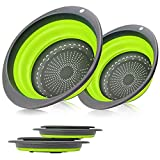 Colander Set - 2 Collapsible Colanders Set, Learja Food-Grade Silicone kitchen Strainer Space-Saver Folding Strainer Colander, Sizes 8 inches - 2 Quart, and 9.5 inches - 3 quart. (Green Colanders)