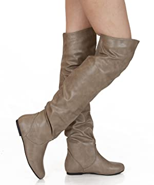 Women's TREND-Hi Over-the-Knee Thigh High Flat Slouchy Shaft Low Heel Boots by ROOM OF FASHION TAUPE PU (6)