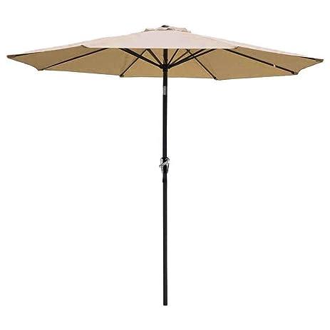 Patio Umbrella Tan 9u0027 Aluminum Patio Market Umbrella Tilt W/ Crank Outdoor  New