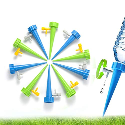 bjduck99 6Pcs DIY Adjustable Automatic Taper Flow Drip Water Spikes Pot Plants Waterers - Random Color by bjduck99 (Image #1)