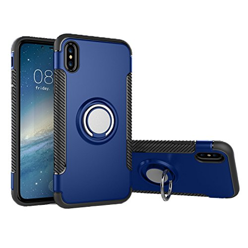 iPhone X Case Apple (Matte Blue), High Impact Drop Protection, Best 360° Swivel Ring Holder Kick Stand, Shockproof TPU Non-Slip Rubber, Thin Flexible Profile, Elevated Lens (High Drop)