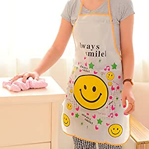 Mziart Funny Kitchen Cooking Apron for Women & Girlfriend, Waterproof, Smiley Face