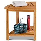 Corner Shower Bench Bamboo Spa Seat with Storage Shelf Bench Seat Spa Bamboo Shower Wood CHOOSEandBUY