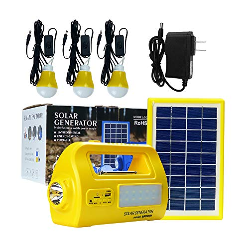 Solar Generator Protable Lighting System Multifuncation Solar Power DC Light Kit Outdoor Indoor Emergency Back Power Bank with Solar Panel ,3 LED Bulbs, 2 USB Ports ,FM Radio MP3 Music Player (Yellow)