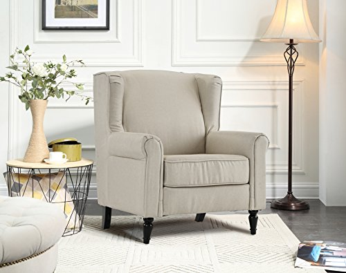 - Classic Living Room Linen Fabric Armchair, Chair with Shelter Frame (Beige)