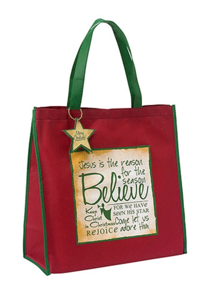 AT001 Set of 8 Red Believe Written Reflections Tote Bag.
