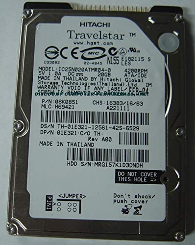 IC25N020ATMR04-0 Hitachi 20GB 2.5 INCH ATA 4200RPM Hard Drive