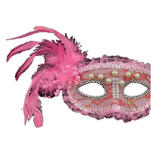 Halloween Masquerade Lace Mask Pearl Feather Half Face Princess Mask 4 -