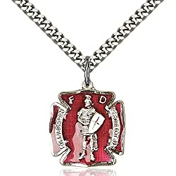 Sterling Silver St. Florian Pendant 34 X 58 Inches With Heavy Curb Chain