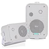 Dual Waterproof Outdoor Speaker System - 3.5 Inch Pair of Weatherproof Wall/Ceiling Mounted Speakers w/Heavy Duty Grill, Universal Mount - For Use in the Pool, Patio, Indoor - Pyle PDWR30W (White)