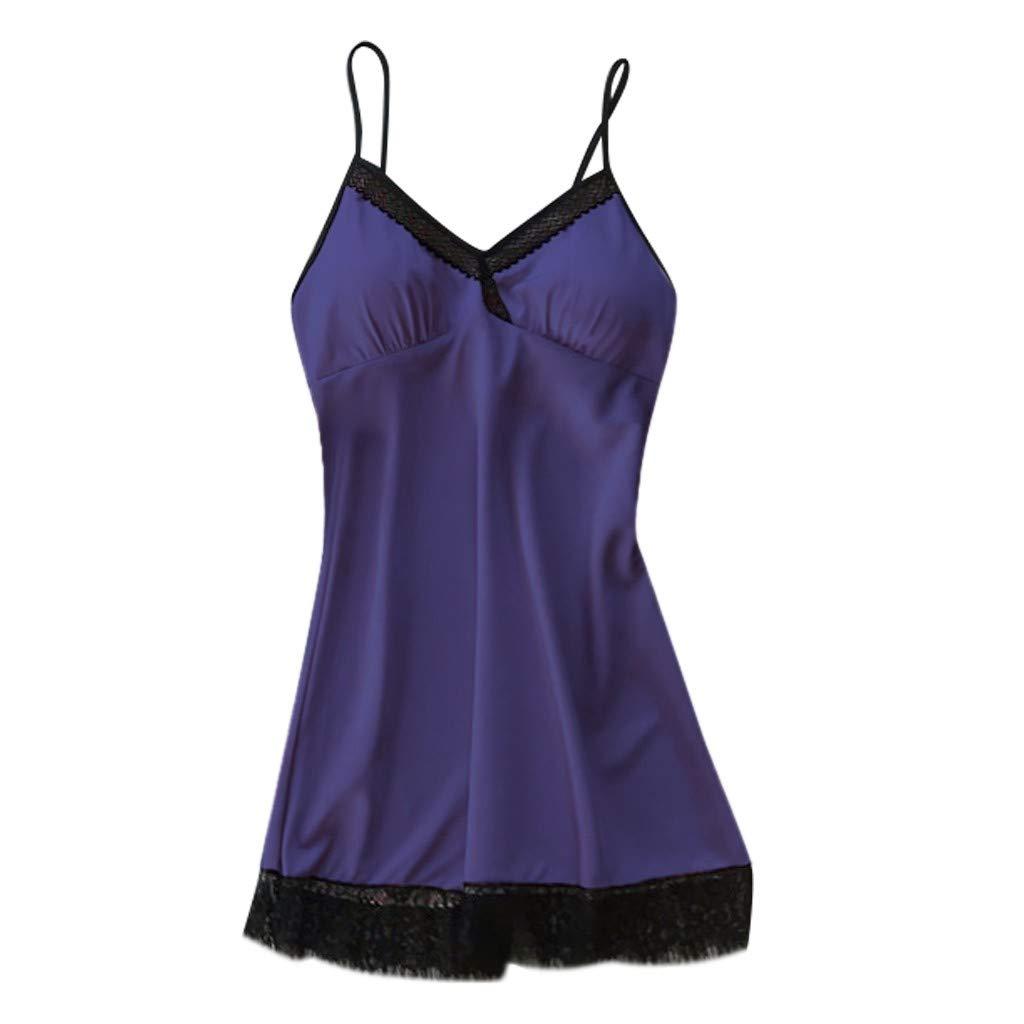 Willow S Women Valentine's Day Fashion Comfy Satin Sleepwear Passion Temptation Nightwear Nightdress Sexy Lingerie Blue