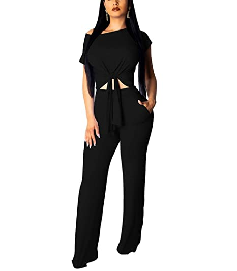 0661d242cbc Women 2 Piece Outfits Bodycon Jumpers Colorful Short Sleeve Crop Tops High  Wairst Flare Long Pants Set