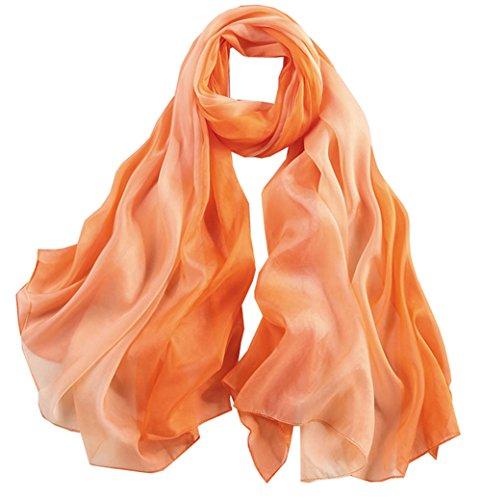 degradado Verano Invierno Anti Uv larga colorida Gran Seda 5 bufanda Mujer Color 1 Todo bufanda Naranja qwHUUaTB