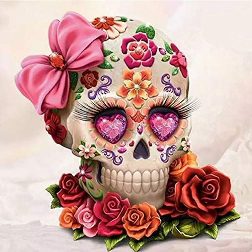 - FAIRYLOVE 12×12 INCHES Diamond Painting Skull Full Drill Paint with Diamonds Cross Stitch Kits Embroidery Art Crafts,Flowers Skull