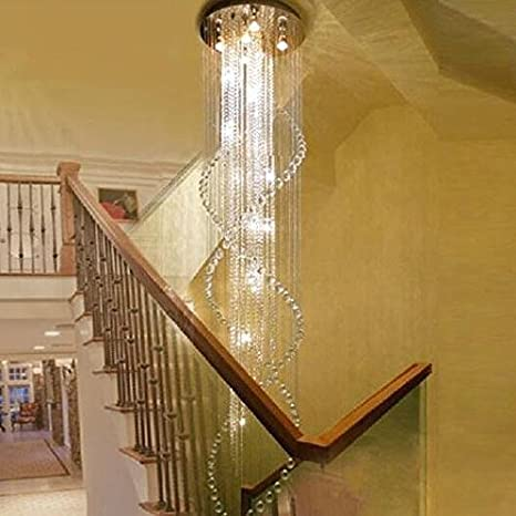 7PM H118u0026quot; X W40u0026quot; Modern Double Spiral Rain Drop Clear K9 Crystal  Chandelier For