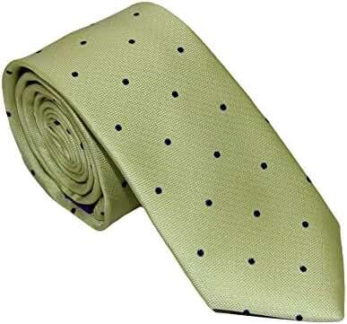 Gold Blue Polka Dot Skinny Tie | 5 Year Warranty | Gifts for Men | Christmas Gift for Men