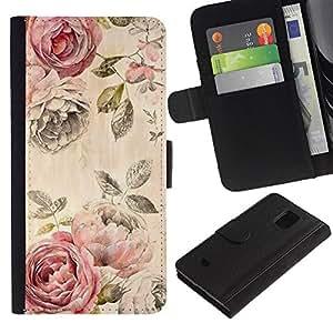Billetera de Cuero Caso Titular de la tarjeta Carcasa Funda para Samsung Galaxy S5 Mini, SM-G800, NOT S5 REGULAR! / Rose Rustic Wallpaper Floral Rose / STRONG