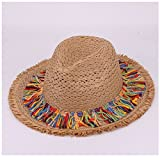 Lavenz Kids sun hats for children jazz caps boy fedora trilby girls casual solid summer beach sun paper straw panama hat