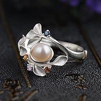 khamchanot Freshwater Pearl 925 Silver Ring Men Women Jewelry Engagement Wedding Size 6-10 (6)