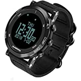 SUNROAD Men's Smart Digital Barometer Altimeter Compass Waterproof Watch with LED Screen Large Face Altimeter Watches & Waterproof Casual Luminous Stopwatch Wristwatch(Black)