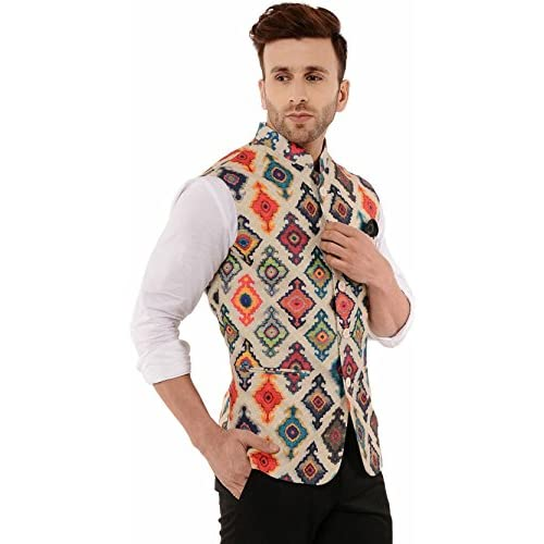 51RzweeSruL. SS500  - Cenizas Casual Multicolor Nehru Jacket Neck Waistcoat for Men Slim fit