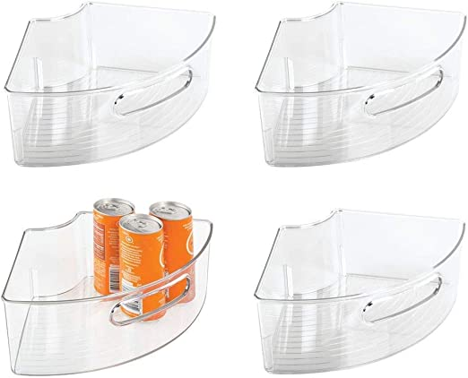 Amazon Com Idesign Plastic Lazy Susan Cabinet Storage Bin 1 4 Wedge Container For Kitchen Pantry Counter Bpa Free 12 56 X 7 33 X 4 05 Set Of 4 Clear