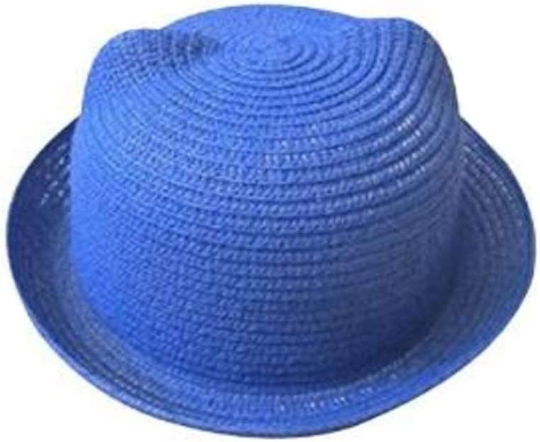 Sky Blue Butterme Cute Cat Ear Summer Beach Sun Straw Hat Roll Up Brim Derby Bowler Bucket Cap for Baby Boys Girls