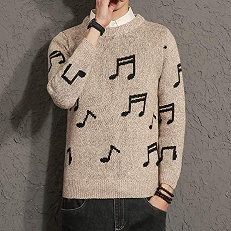 HX fashion męski sweter dziergany gruby sweter z okrągłym dekoltem nuty muzyczne wzÓr wygodny rozmiar sweter dziany wiosna jesień długi rękaw sweter odzież: Odzież