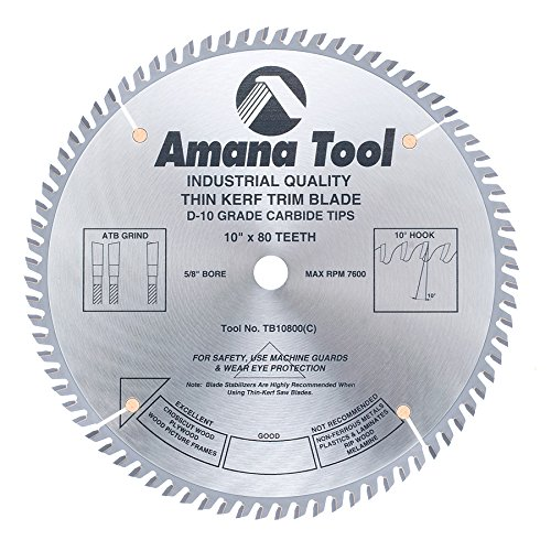Amana Tool TB10800 Carbide Tipped Thin Kerf Trim 10 Inch D x 80T ATB, 10 Deg, 5/8 Bore, Circular Saw (80t Atb Thin)
