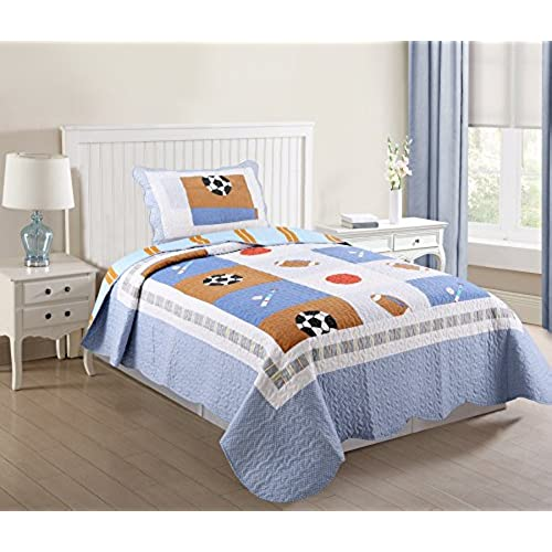 Green World 2 Piece Kids Bedspread Quilts Set Throw Blanket For Teens Boys Bed Printed Bedding Coverlet Twin Size Light Blue Baseball