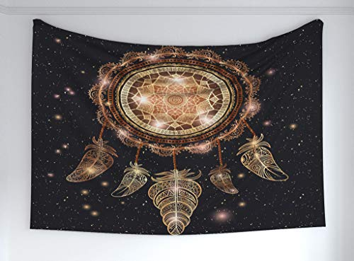 Ambesonne Mandala Tapestry, Native American Dreamcatcher Motif Magic Feathers Hippie Design on Starry Backdrop, Fabric Wall Hanging Decor Bedroom Living Room Dorm, 90 W X 60 L Inches, Multicolor