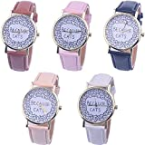 Womens Quartz Watches Cat Pattern,COOKI Unique Analog Fashion Clearance Lady Watches Female watches on Sale Casual Wrist Watches for Women Comfortable Faux Leather Cat Watch-H33