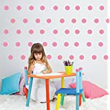 """2"""" polka dot 80 pieces/set Vinyl Wall Decal Home Decoration Removable Home Decor Stickers Art Kids Nursery Bedroom Wall Sticckers&Murals ,Easy direct Peel (Pink)"""