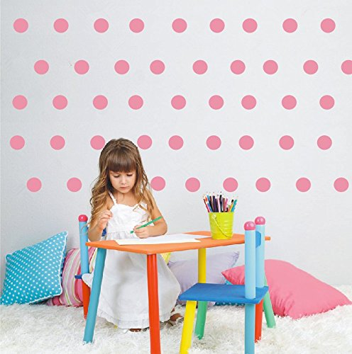 YOYOYU 80pieces/set 4.8cm polka dot wall sticker -easy peal & stick- Environmental Removable Kids Nursery Room Decor Decal Sticker (soft pink)