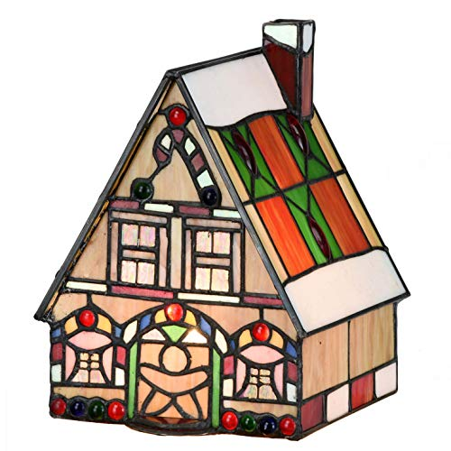 Bieye L10677 Christmas Themed Village 9 inch Tiffany Style Stained Glass Musical Boxes with LED Light Inside, Multicolored (Gingerbread House) - Music Box Stained Glass